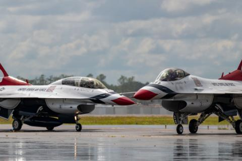 U.S. Air Force Thunderbird jets taxi on the tarmac at Constant Aviation on the north side of the Orlando Sanford International Airport Monday afternoon.