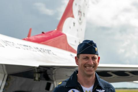 Major Zane Taylor of the U.S. Air Force Thunderbirds talks with reporters after the team arrived in Sanford Monday afternoon to get ready for this weekend's Orlando Air & Space Show.