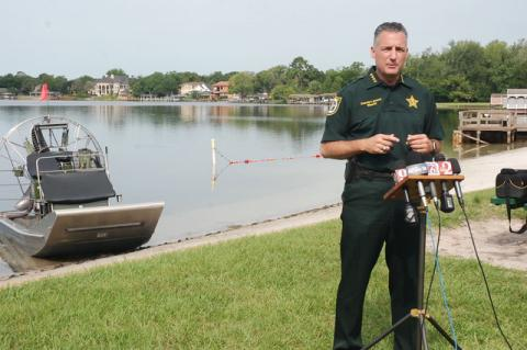Sheriff Dennis Lemma speaks to the media about boating safety and increased patrols on Seminole County's waterways.