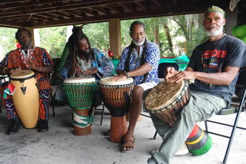 Members of the TamTam Alafia Drummers play at the fifth annual Juneteenth Festival 2021 in Historic Midway.