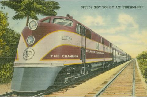 """Postcard depiction of Atlantic Coast Line Railroad's train """"The Champion"""", which also traveled between New York City and St. Petersburg."""