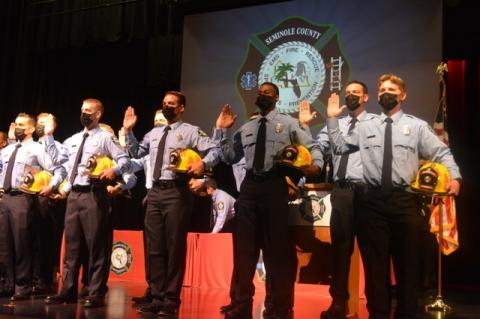 Recently, 23 new recruits graduated from the Seminole County Fire Department orientation and training program. Here the newest firefighters take a graduation oath.