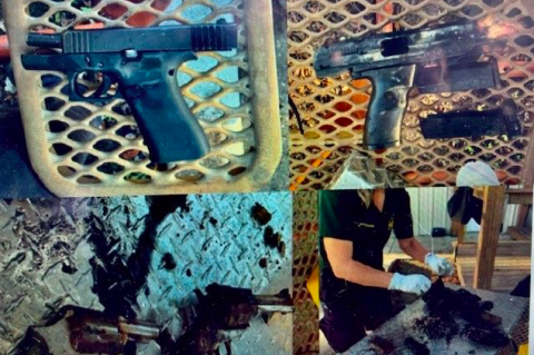 Photos from the Seminole County Sheriff's Office show the guns located during a search of Lake Monroe.