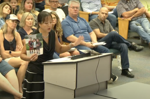 Residents filled the chambers for Thursday's special meeting where school board members decided whether to have a mask mandate.