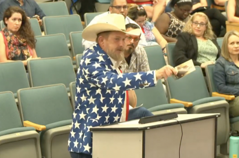 Eric Wilson (above), a life-long resident of Seminole County, cited the Declaration of Independence to argue against the mask policy.