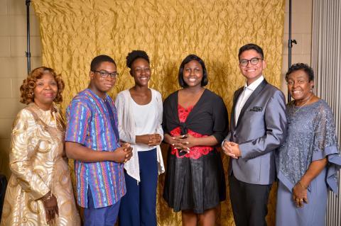 MLK 2020 Oratorical Contest Winners Pictured, L-R: Eva Lawson Williams, Christopher Onyiuke, Adrice Galloway, Jaelyn Wise, Rafael Quintero, Ruth Hardy Walker