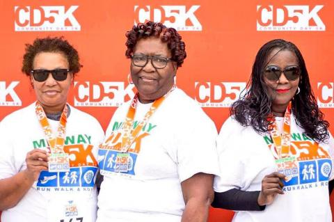 Members of the Pearlie Mae Ford Community Service Club of Sanford, Inc., participated in the 2019 Inaugural Midway Community Day 5K and plan to participate in the 2020 event. Pictured, L-R: Sqretta Ross, Lexie Owens, Grace Stevens, Inez Ford, Gail Ford McQueen