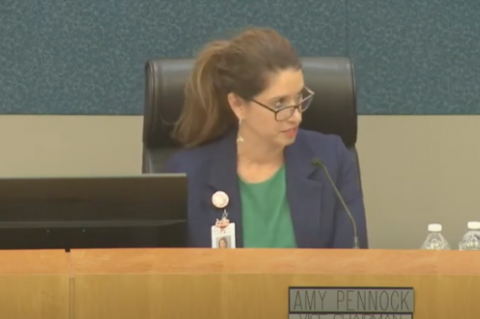 Board Member Amy Pennock (above) was the only one to vote against approvinig Serita Beamon's contract on Tuesday.