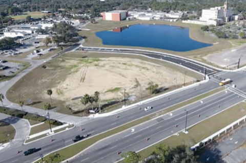 This aerial shot of the Five Points area shows the new stormwater pond and road from phase one of the construction project that will eventually bring Seminole County services to the one area location.