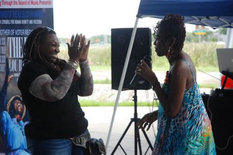 Shantell Williams with Singer Mzuri Moyo Aimbaye during her send-off party at Seminole Harley-Davidson.