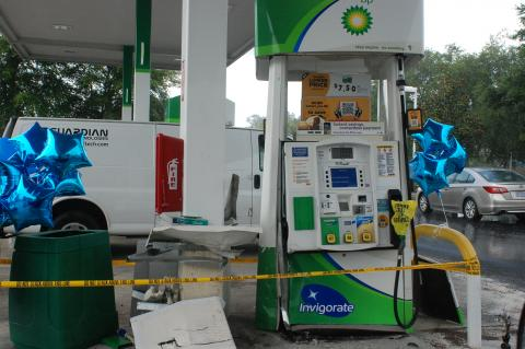 The gas pump was shut down Tuesday due to damage from the crash.
