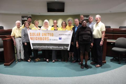 Members of the League of Women Voters and others invested in solar energy gathered for a press conference on a new co-op Wednesday morning.