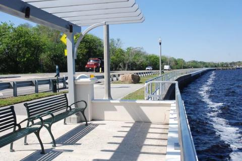 A picture shows the beginning of Phase 3 of the Sanford RiverWalk before Seminole Boulevard closed.