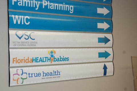 Shot from inside the Health Department showing the way to the new Victim Service Center satellite office in Sanford.