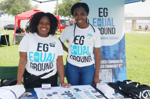 Jasmine Burney-Clark, left, founder of Equal Ground Education Fund, was on hand at the Sanford Juneteenth event Saturday afternoon in Fort Mellon Park along with Nicole Benton, Seminole County organizer for the group.
